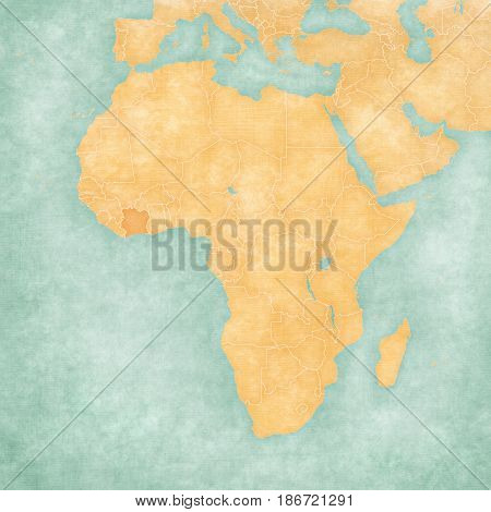 Map Of Africa - Cote D'ivoire