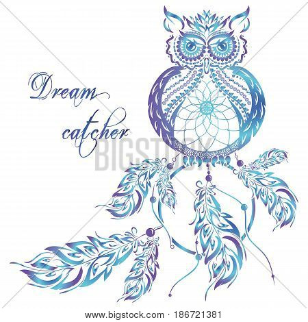 Vector dream catcher owl with blue background with format eps10.