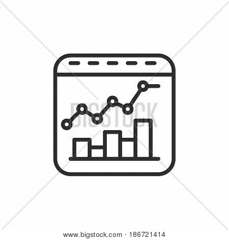 Bar and line combo chart line icon outline vector sign linear style pictogram isolated on white. Symbol logo illustration. Editable stroke. Pixel perfect