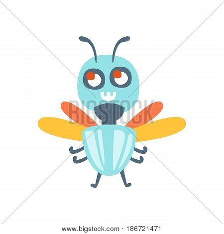 Cute cartoon fly, colorful character vector Illustration isolated on a white background