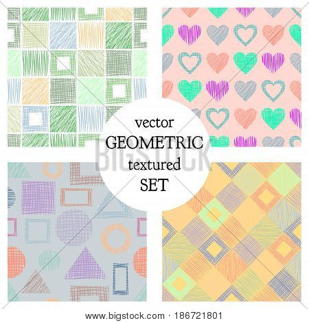 Set Of Seamless Vector Geometrical Patterns With Different Geometric Figures, Forms. Pastel Endless