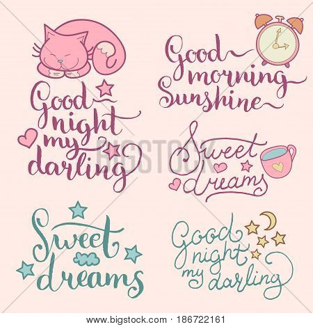 Vector set of night cute illustrations. Cartoon symbols and hand lettering for posters, cards Good Night My Darling, Sweet Dreams etc. Beautiful childish background for baby room, textile etc.