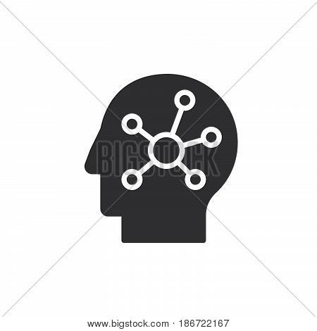 Mind map in a head icon vector filled flat sign solid pictogram isolated on white. Symbol logo illustration. Pixel perfect