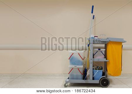 Professional cleaning cart in the hospital. MOP