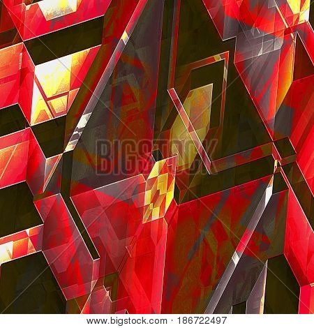 Abstract futuristic background reminiscent of modern architectural features. Polygonal red, gold and brown futuristic background of spatial shapes and intersecting lines. 3d illutration