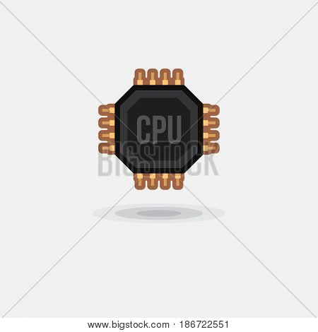 Vector icon processor GPU, CPU isolated. Illustration computer hardware on white background