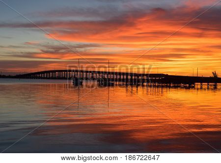 The Eau Gallie Causeway Bridge in the Morning Sun
