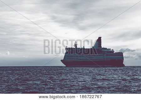 Cruise Liner In Open Sea
