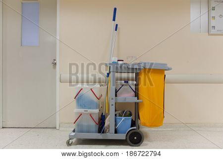 Professional cleaning cart in the hospital thailand.