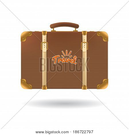 Tourist brown suitcase with straps. Element for your travel design. Vector illustration. Eps 10