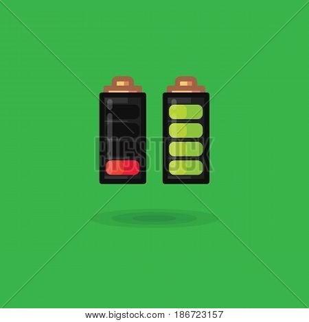 Vector battery icon full charge and discharged. Illustration of a battery loaded and discharged flat on a green background. Battery charge indicator