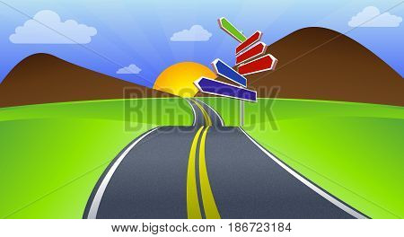 Long Road, vector art illustration highway travel.