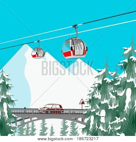 Winter ski resort in mountains with cable cars, bridge and coniferous trees