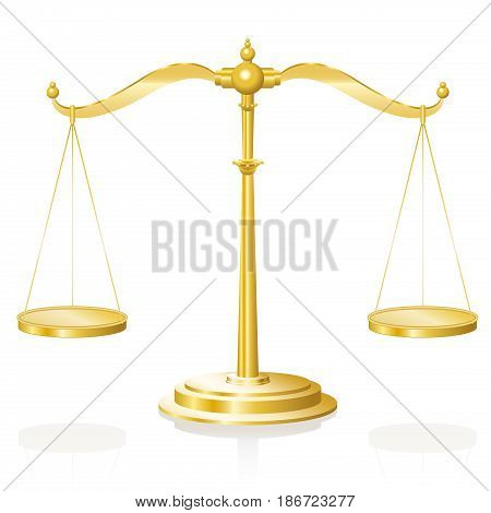 Balance scale - golden weighing device with two hanging pans perfectly balanced - isolated vector illustration on white background.