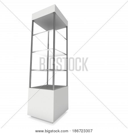 Empty showcase with glass shelves for exhibit. 3D render illustration isolated on white background. Trade show booth blank pedestal for expo design.