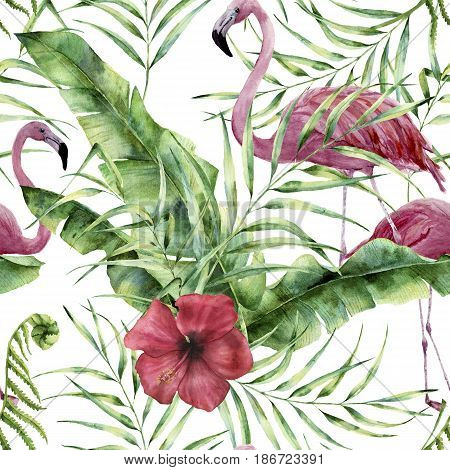 Watercolor floral pattern with exotic flowers, leaves and flamingo. Hand painted ornament  with tropical plant: hibiscus, palm leaves and branches isolated on white background. For design or fabric.