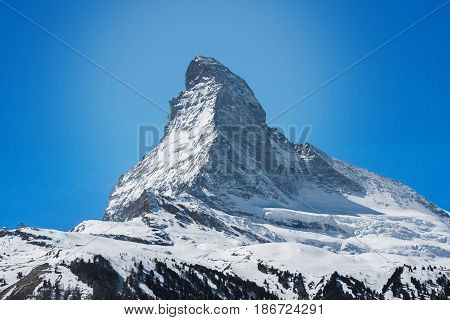 matterhorn mountain with blue gradient background , zermatt
