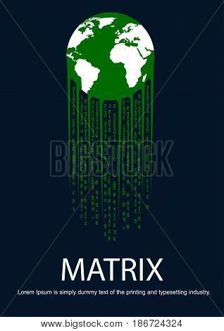 Green earth with tail in the form of matrix