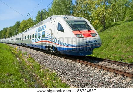 MOSCOW, RUSSIA, JULY 12, 2010: High speed train Pendolino Sm6 ALLEGRO runs Russian railway. Moscow rail way high speed train Pendolino ALLEGRO. Russian railways railroads. Fast train. High speed