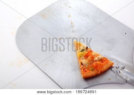 PIZZA. Isolated on white. Room for text. Pineapple, Ham, Pizza for lunch.
