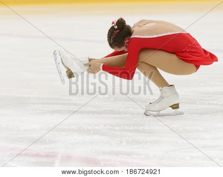 ST. PETERSBURG, RUSSIA - APRIL 18, 2017: Ladies' single figure skating competitions on prix of SPb Federation of Figure Skating. 150 athletes from 6 regions of Russia take part in the competitions