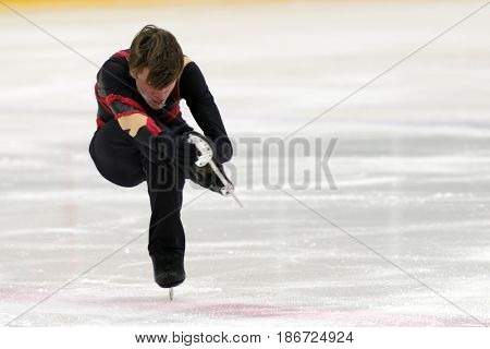 ST. PETERSBURG, RUSSIA - APRIL 21, 2017: Men's single figure skating competitions on prix of SPb Federation of Figure Skating. 150 athletes from 6 regions of Russia take part in the competitions