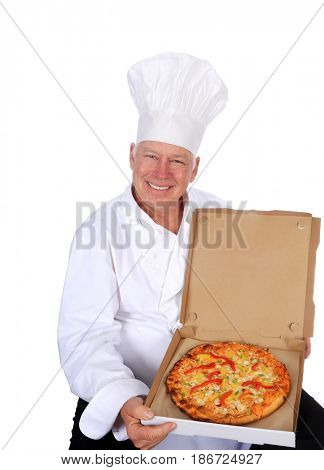 PIZZA Chef. Isolated on white. Room for text. A chef wearing his White Chef Jacket and Hat proudly holds a Hot Fresh Pizza fresh from the oven.