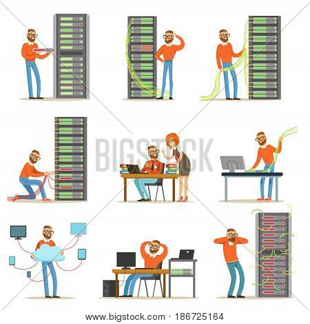 Young engineer working in network server room. Technician at the data center set of colorful Illustrations isolated on white background