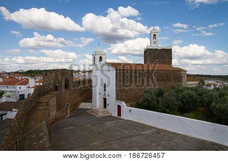 High View Of Alandroal Church Along Castle Defensive Walls