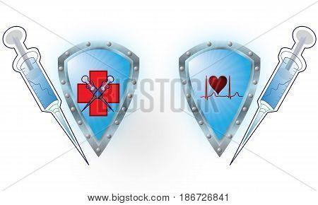 isolated, white, background, medicine, object, on, single, healthcare, syringe, symbol, shiny, medical, shape, Shield