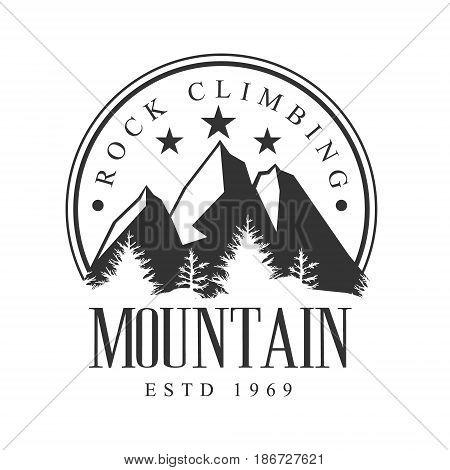 Mountain rock climbing logo. Mountain tourism, exploration label, climbing sport activity badge, outdoors expedition emblem vector illustration
