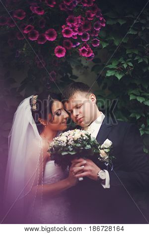 Wedding Couple Stands With Clowed Eyes Under The Pink Flowers Hanging From The Wall