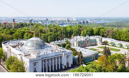 Kiev City Skyline With Rada Building In Spring