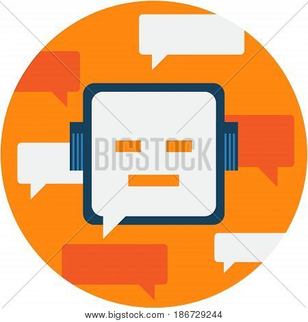Chatbot Abstract Icon illustration.  Chatterbot Futuristic technology concept isolated vector. Transparent.