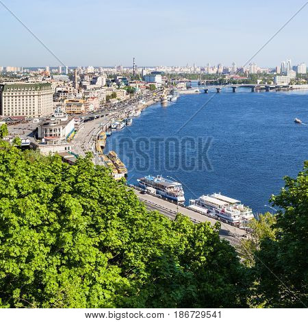View Of Kiev City Podil District With River Port