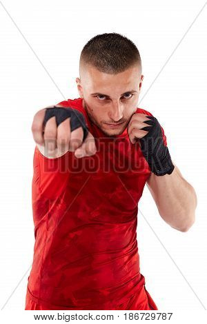 Young Kickbox Fighter On White