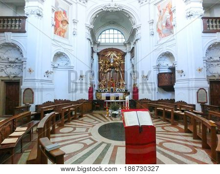 Salzburg, Austria - May 01, 2017: The inside the Trinity-Church in Salzburg, Austria. The church was built between 1694 and 1702 at Salzburg, Austria on May 01, 2017.