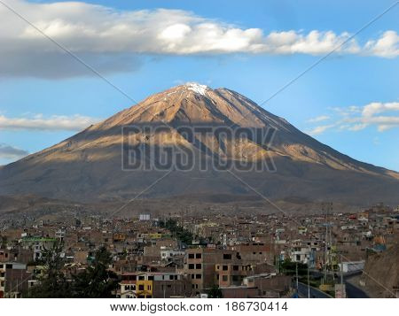Misti volcano above the city of Arequipa, Peru.