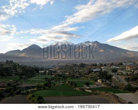 Chachani volcano above the city of Arequipa, Peru.