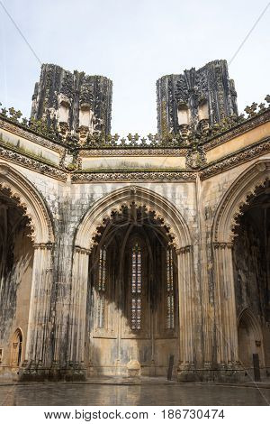 The Monastery of Batalha (Monastery of Saint Mary of the Victory) is one of the best and original examples of Late Gothic architecture in Portugal intermingled with the Manueline style