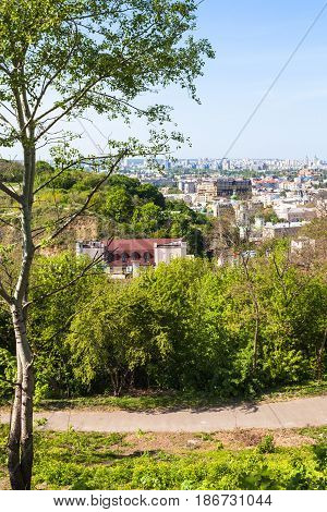 travel to Ukraine - Zamkova Hora hill (Castle Hill) and Podil district in Kiev city in spring