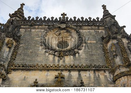 The famous Chapter House window in the Manueline style in the Convent of Christ Tomar Portugal