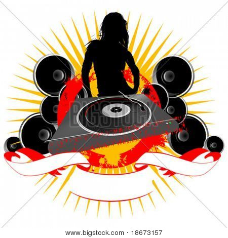 Girl Silhouette, Turntable and Sound