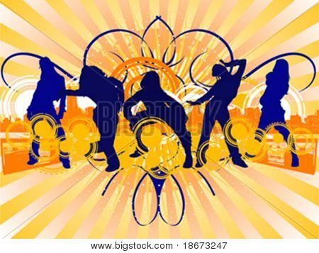 Hip-Hop Dancing Girls Silhouette on City Background. Vector Illustrate. No Meshes.