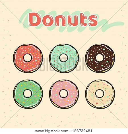 Colorful set of glazed donuts with caramel and sweets. Donuts vector set isolated on a beige background in a retro flat style. Vector illustration
