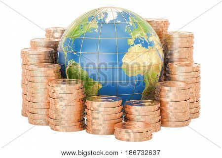 Gold coins with Earth globe 3D rendering isolated on white background
