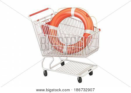 Shopping cart with lifebuoy safe shopping concept. 3D rendering