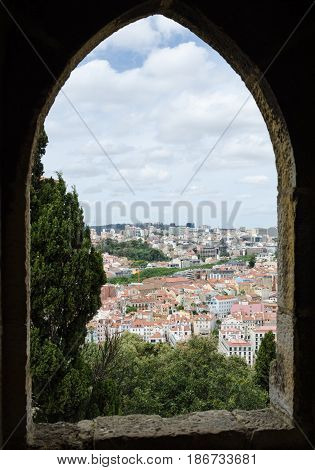LISBON, PORTUGAL - APRIL 26: View from an old window in the castle Sao Jorge in Lisbon Portugal on April 26, 2017