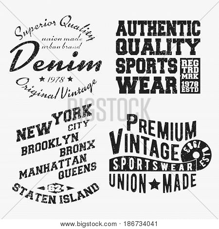 T-shirt print design. Set of various vintage stamp. Printing and badge applique label t-shirts jeans casual wear. Vector illustration.