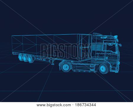 Truck wireframe, perspective 3d technology vector illustration.